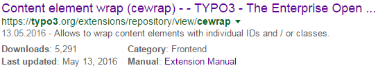 "Search result for ""typo3 cewrap"""